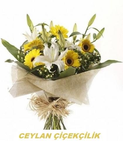Lilyumlu Sarı Gerbera Buketi